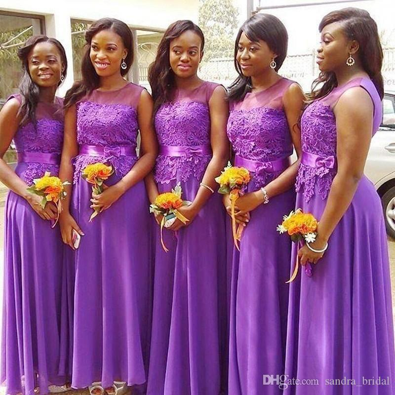 2018 Aso Ebi Purple Bridesmaids Dresses Floor Length Long Chiffon ...
