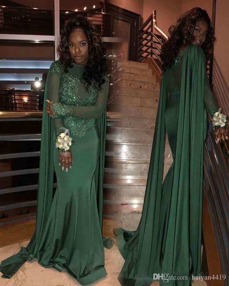5f153a9f35 2018 Hunter Green Mermaid Prom Dresses Jewel Illusion Lace Applique Beads  Long Sleeves Sweep Train With Wrap African Evening Wear Party Gown Juniors  Prom ...