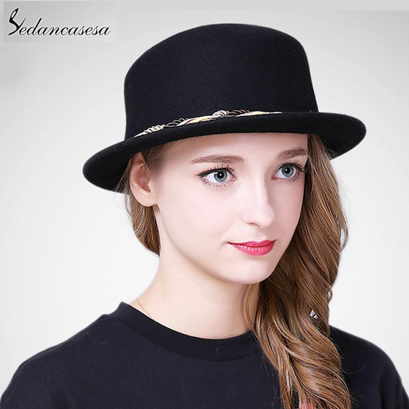 9a93345c993a37 2019 Sedancasesa New Female Boater Hat Bucket Hats Australian Wool Full  Handmade Weave Rope Small Brim Fedora Hats For Women FW227008 From  Wonderliu, ...