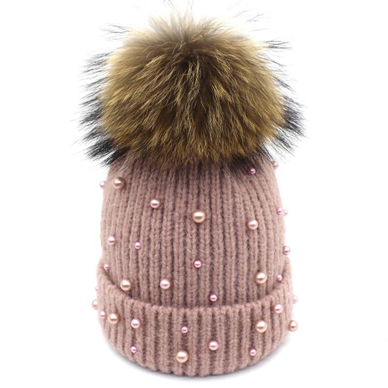 Winter Hat Natural Fur Pompom Beanies For Women Female Girls Elegant Warm  Skullies Beanies Faux Pearl Beaded Design Bonnet Cap Newborn Hats Knit  Beanie From ... 83ea16423d08