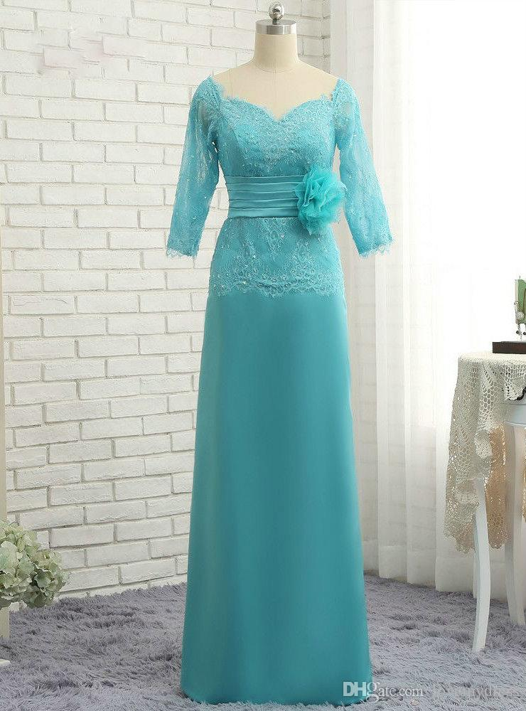 Elegant Lace Chiffon Hunter Mother of the Bride Groom Dresses Zipper Back Plus size Illusion Sleeves Beaded Sequins Wedding Guest Party Gown