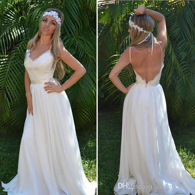 Discount 2019 Western Country Bohemian Wedding Dresses Lace Chiffon