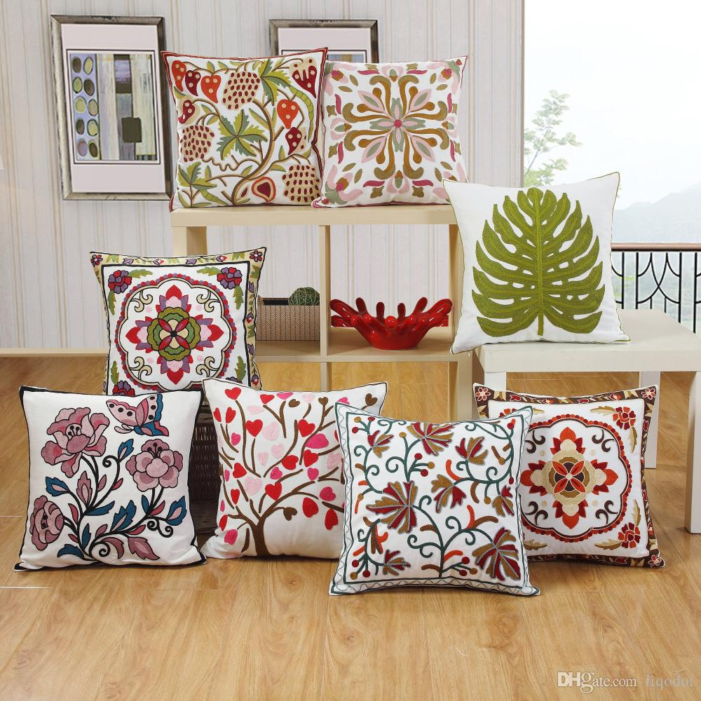 Embroidery Cushion Cover Elephant Flower Pattern Cotton Pillow Home Decor  Sofa Bed Decor Decorative Pillowcase 45*45cm Outside Cushions Outdoor Chair  ...