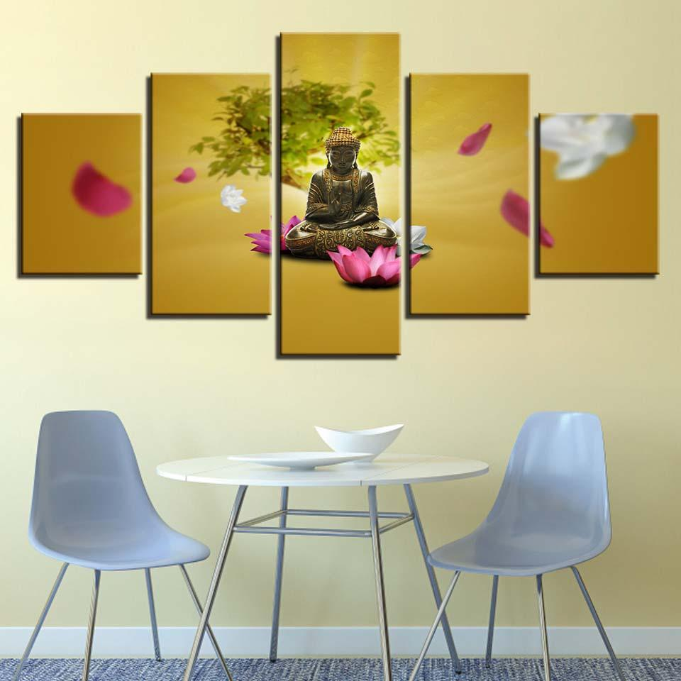2018 Canvas Hd Prints Paintings Wall Artwork Buddha Poster Pink And ...