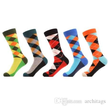 Discreet Hot Sale 5 Pairs/ Lot Fashion 5 Colors Brand Quality New Mens Socks Rhombus Pattern Business Casual Sock For Men Free Shipping Underwear & Sleepwears