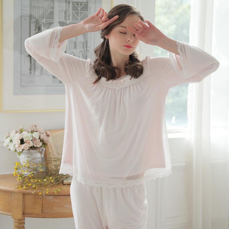 2018 Pajama Sets New Long Sleeve Mesh Sleepwear Lace Cotton Comfortable  Home Wear Vintage Princess Indoor Clothing Pyjamas For Women From  Bestdh2014 b16c8f3ee