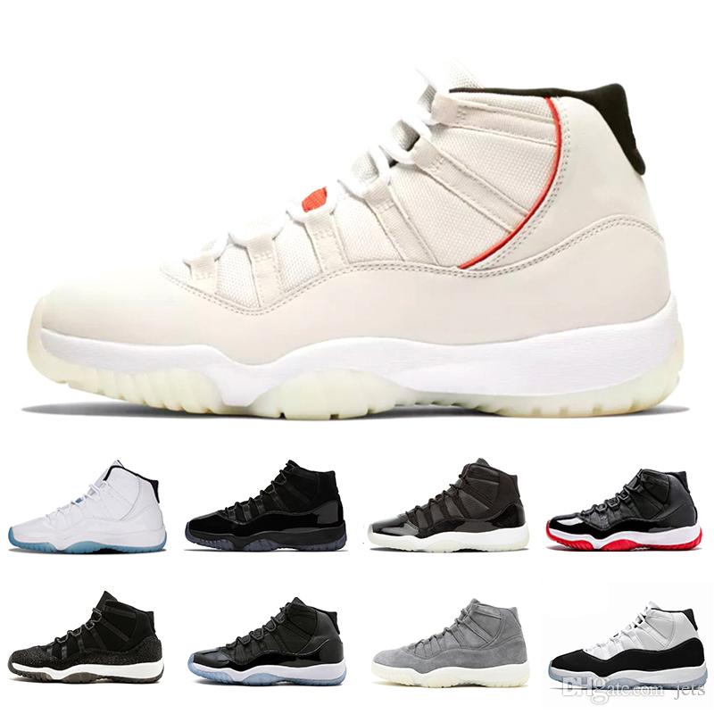 fd7c50a2a61ebf Acheter 11 XI 11s Platinum Tint Hommes Chaussures De Basketball Designer  Cap And Gown Prom Night Gym Rouge Bred Barons Concord 45 Cool Grey Mens  Baskets De ...