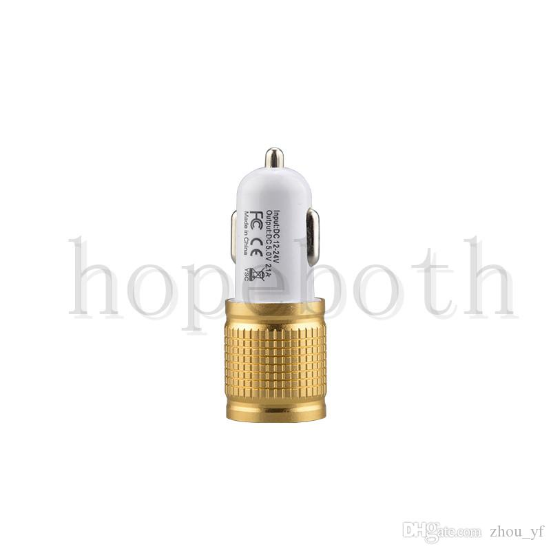 Best Metal Dual USB Port Car Charger Universal 12 Volt / 1 ~ 2 Amp for Apple iPhone iPad iPod / Samsung Galaxy / Motorola Droid Nokia Htc