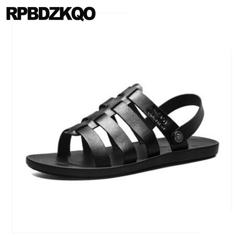 78e30c5319c08 Men Gladiator Sandals Summer Slip On Beach White Slippers Strap Casual  Black Shoes Sneakers Roman Soft Slides Italian Leather