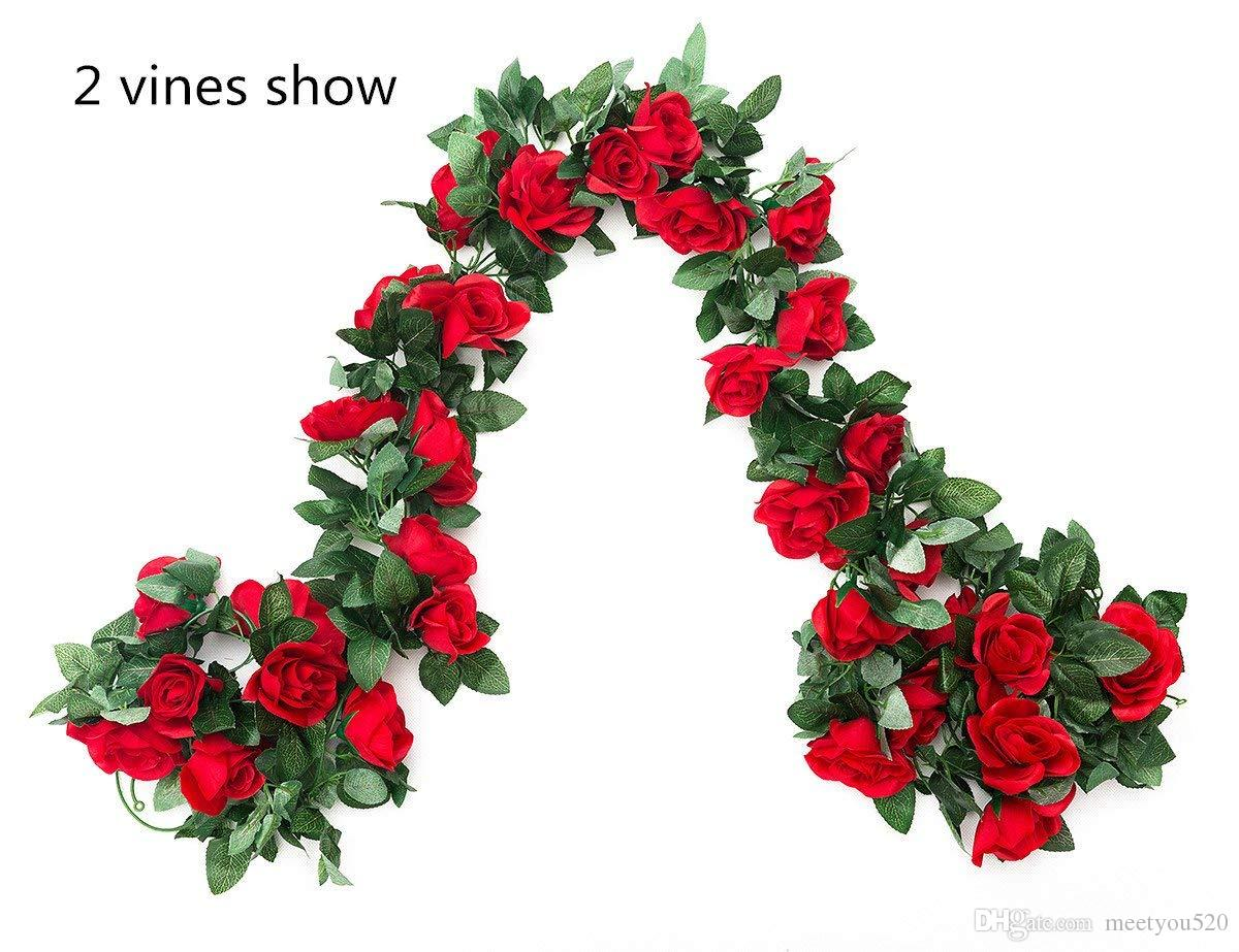 2018 2 Pack 16ft Artificial Rose Vine Flowers Plants Fake Flower
