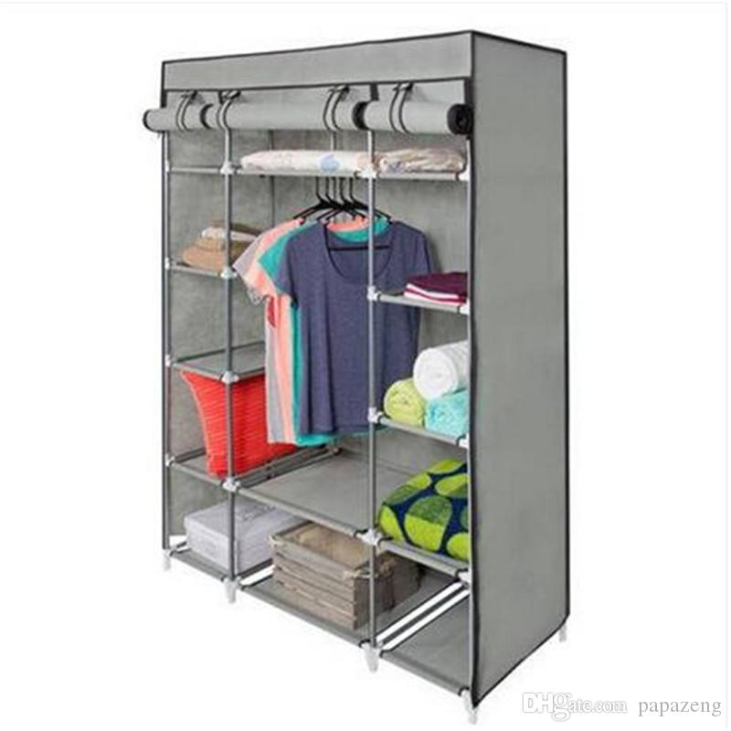 5-Layer Portable Closet Storage Organizer Wardrobe Clothes Rack With Shelves