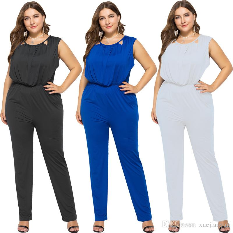 206fe452ce03 2019 XL XXXXXL Big Size Sleeveless Romper Party Jumpsuits Wide Leg Overlay  Jumpsuit Casual Clothes Trousers Pants Womens 2018 Winter From Xuejiaoyan