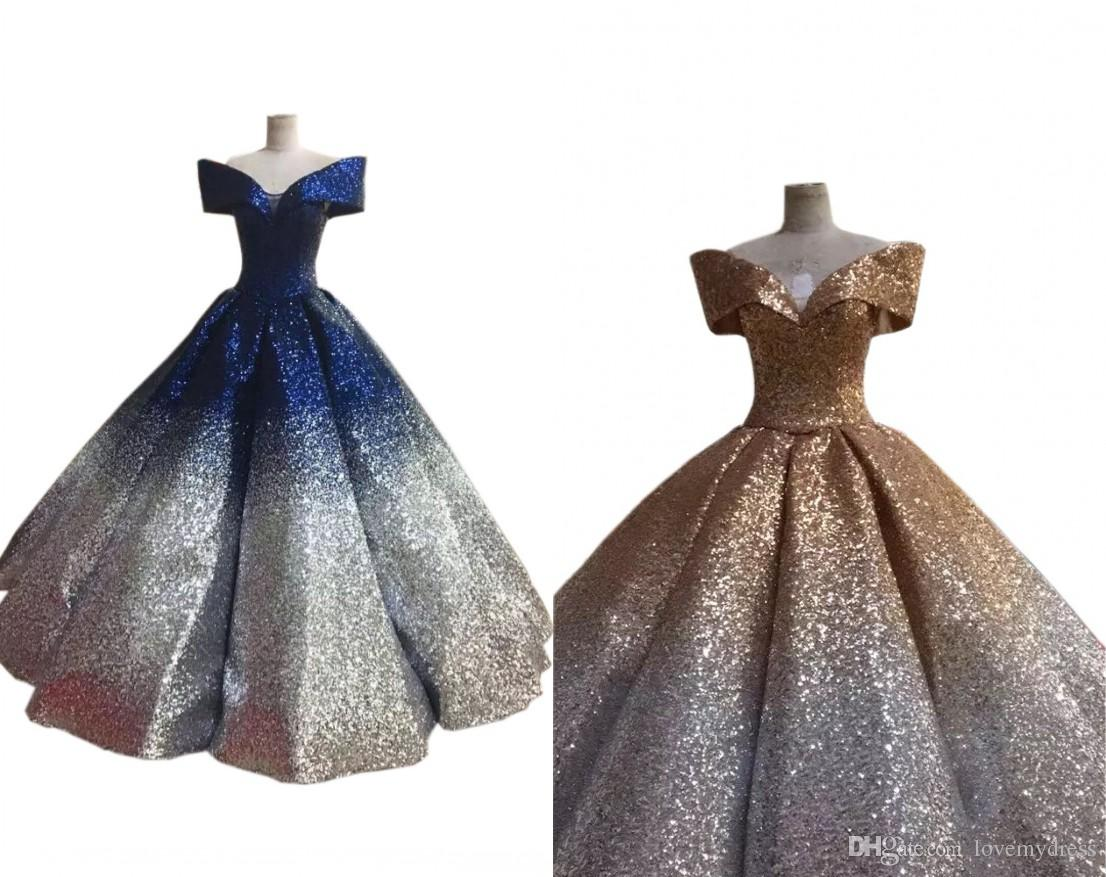 949586129c6d Stunning Navy Gold Prom Evening Dresses 2019 Sequined Dress With Short  Sleeve Gradient Ombre Designer Ball Gowns For Women Formal Pageant Plus  Sizes Dresses ...