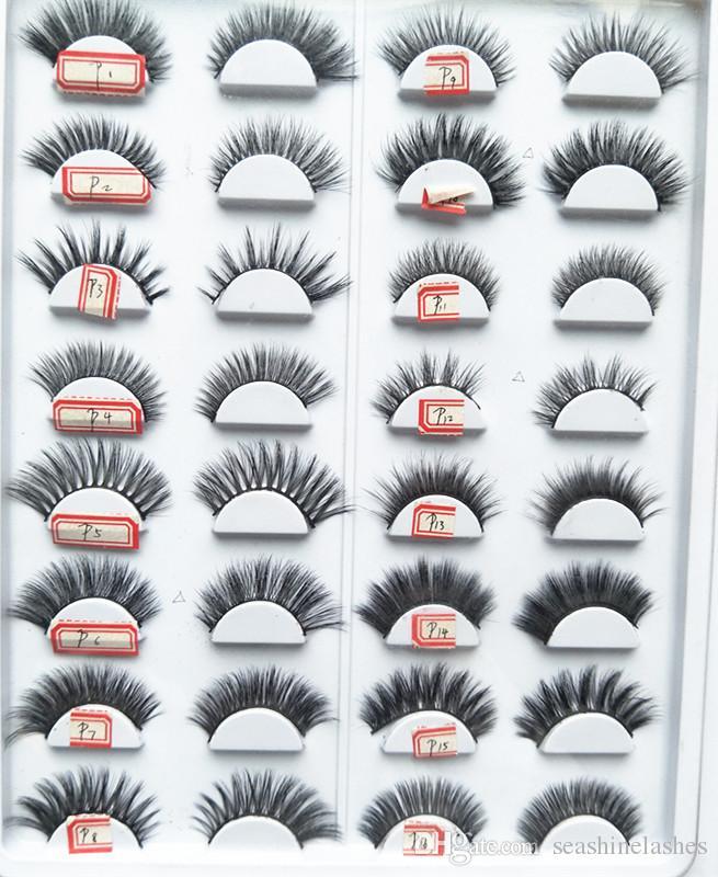 2018 seashine 100% 3D Mink Maquiagem Cross Cílios Postiços Eye Lashes Extensão Handmade natureza cílios 16 estilos para escolher