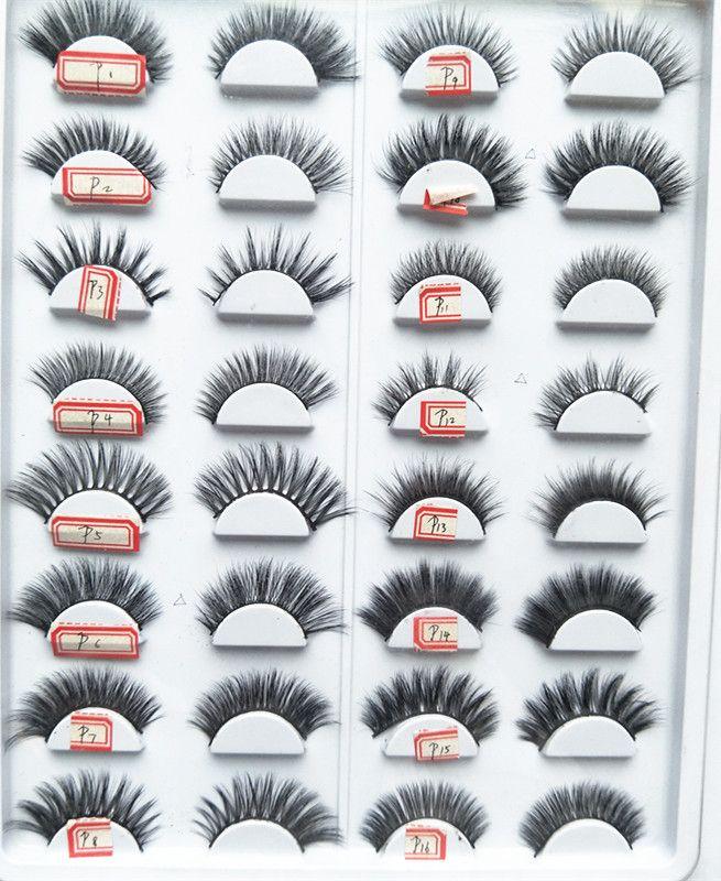 2018 seashine 100% 3D Nerz-Make-upkreuz-falsche Wimpern-Augen-Wimpern-Verlängerung Handgemachte Naturwimpern 16 Arten für wählen