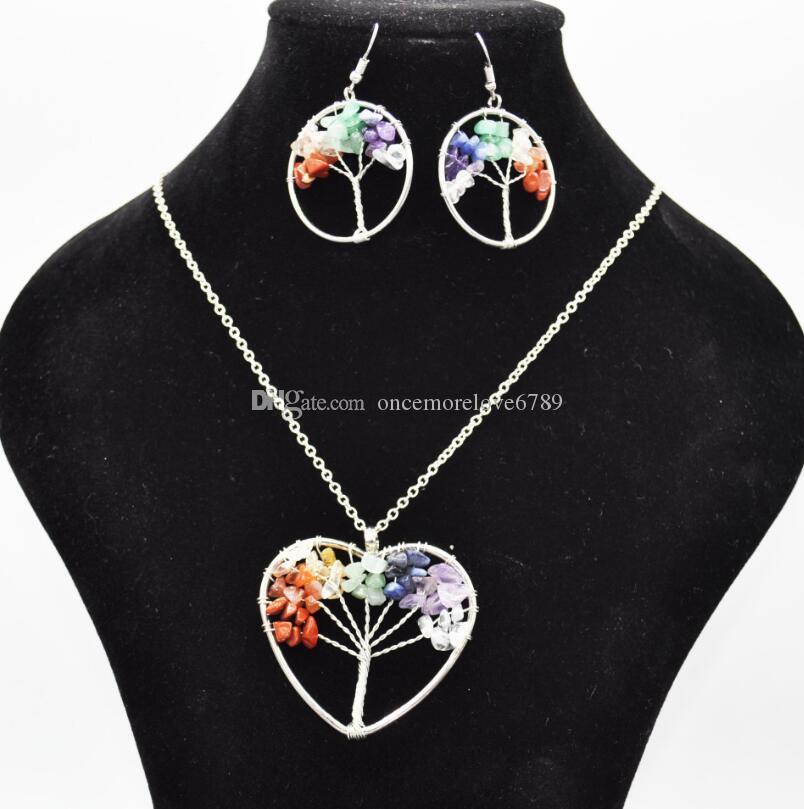 النساء قوس قزح 7 شقرا الجمشت شجرة الحياة الكوارتز رقائق أقراط قلادة مجموعات المجوهرات شجرة الحكمة متعدد الألوان الحجر الطبيعي قلادة