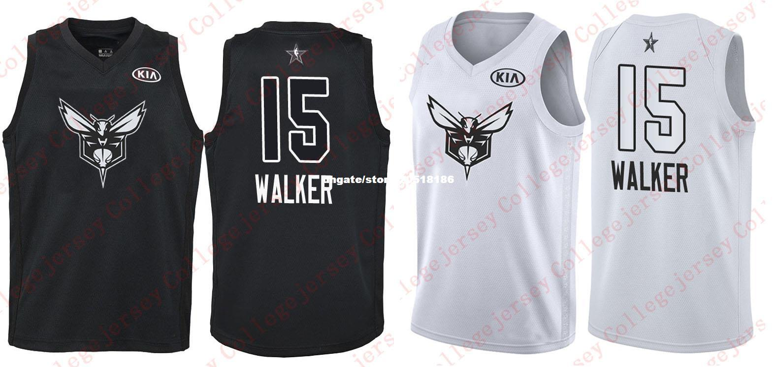 97964c1d5260 Compre Cheap 2018 All Star   15 Kemba Walker Jersey Hombres Blanco Negro  Baloncesto Jerseys A  17.19 Del Nfljersey1