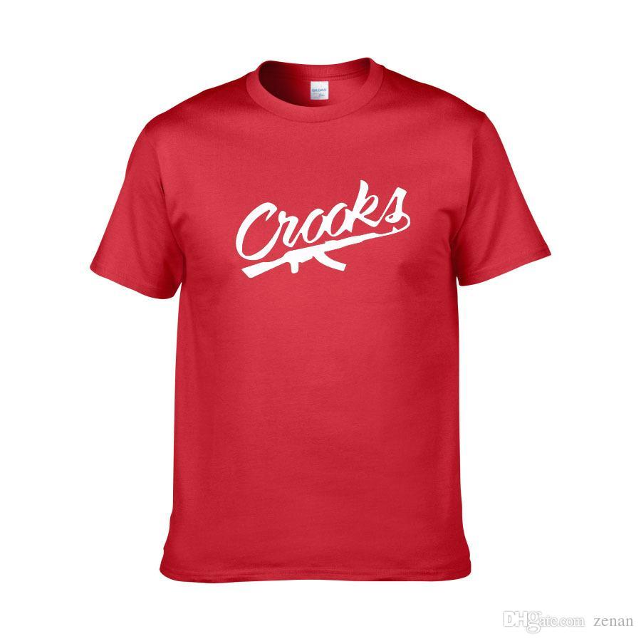Crooks And Castles Gun Cool impreso para hombre hombre camiseta camiseta moda 2018 nueva camiseta de algodón de manga corta camiseta Camisetas Hombre
