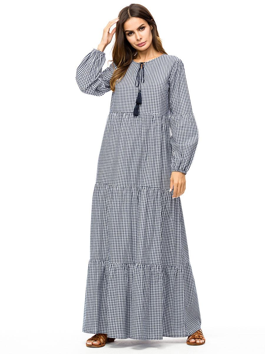 36aeb85cad Compre Mulheres Casual Grade Vestido Cinza Moda Xadrez Patchwork Balanço Vestido  Longo Para As Mulheres Plus Size Outono Vestidos 2018 Roupas De Dujotree