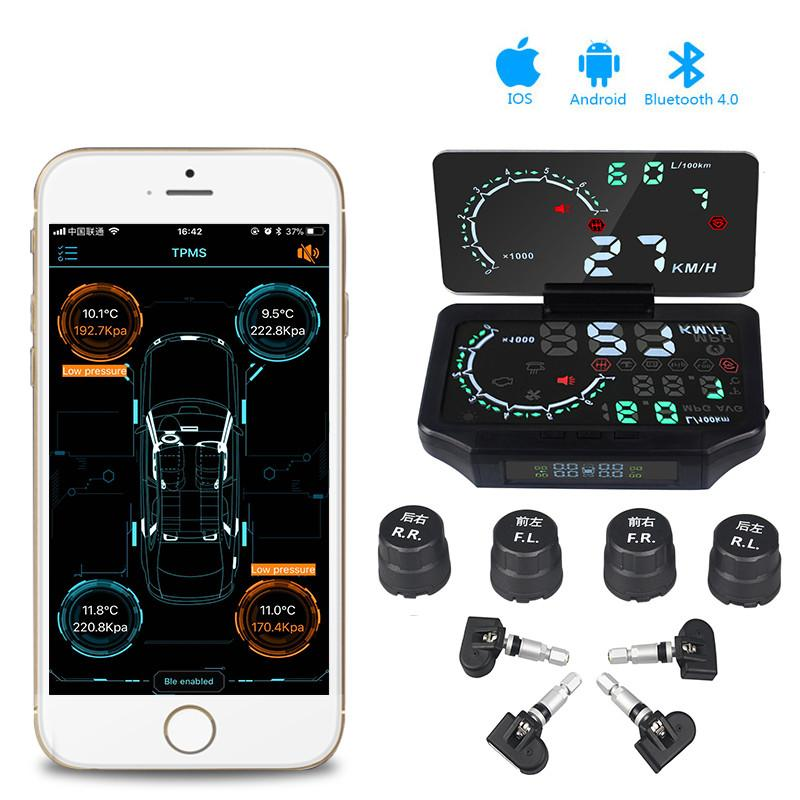 Bluetooth 4 0 with Android iOS BLE TPMS 4 Internal/External Sensor Tire  Pressure Monitoring System Low Energy hud car display