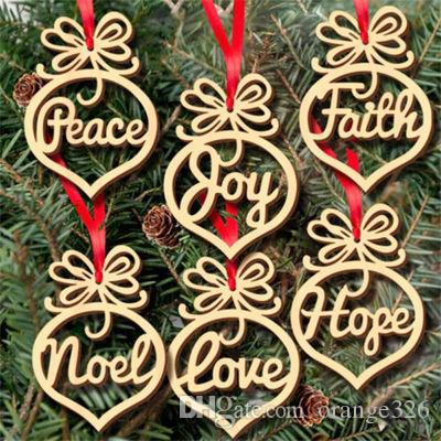 6Pcs/lot Christmas letter wood Heart Bubble pattern Ornament Christmas Tree Decorations Home Festival Ornaments Hanging Gift