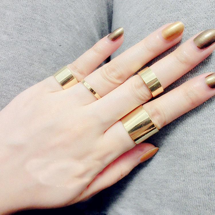Brand Celebrity Gold Wide Knuckle Rings Sets Jewelry The Master S