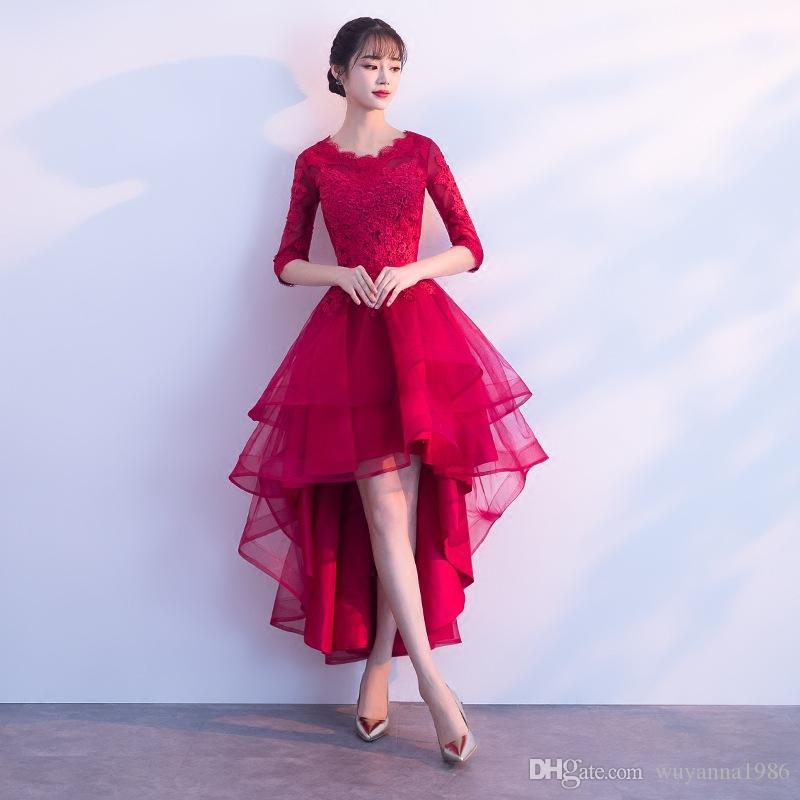 Red Party Dresses 2018 New Fashion Formal Gowns Elegant Luxury Lace ...