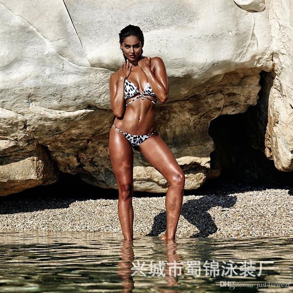 Kadınlar Yaz Plaj Sahil Bikini Setleri Sütyen Külot 2 adet Set Mayo Leopar Seksi Bikini
