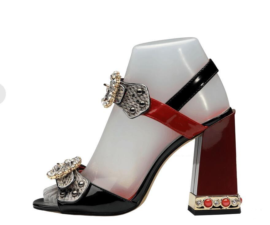 2018 Faux Snake Skin Block Heels Women Sandals Rome Style Ankle Strap Women Pumps Studded Crystal Buckle High Heels Shoes