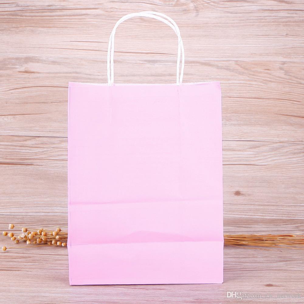 고품질 크 래 프 트 종이 처리 가방 가방 축제 선물 가방 결혼식 사탕 색에 대 한 종이 가방 쇼핑 10 색상