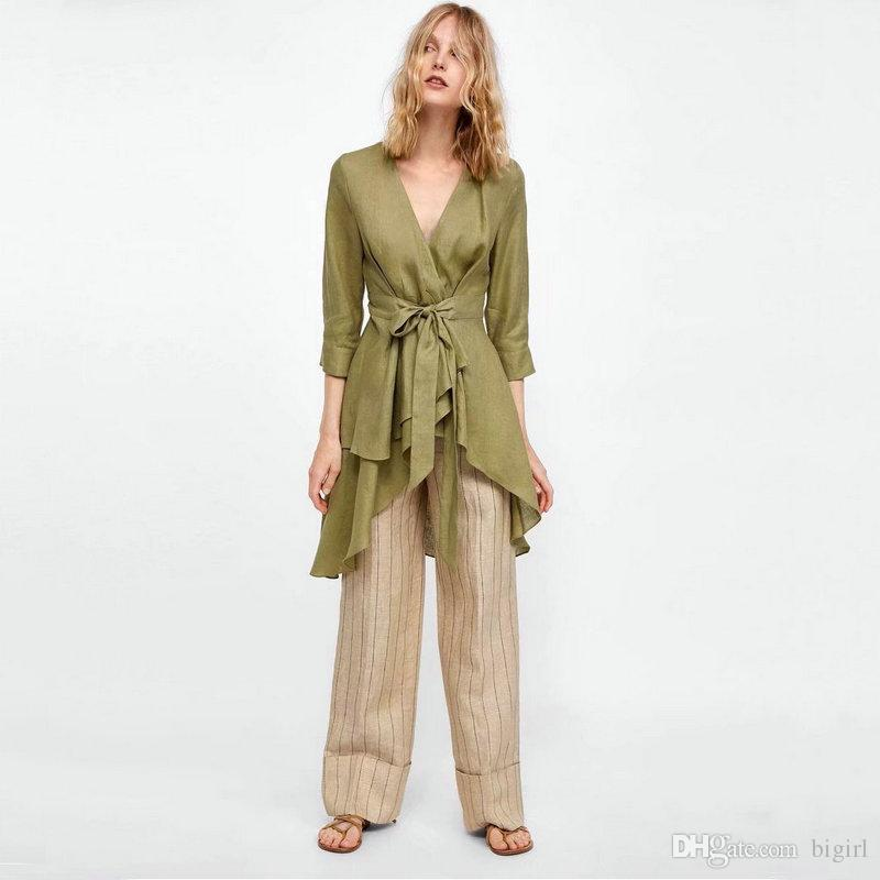 3a9e91690 New Green Linen Shirt Women Vintage Fashion Summer Slim Ruffles Office Lady  Shirts With Belt Fashion Design V-neck Collar Summer Blusa