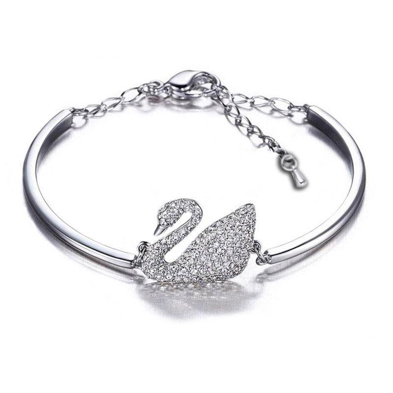 2018 Luxury Silver Color Women Bracelet Sucide Swan Charm Crystal