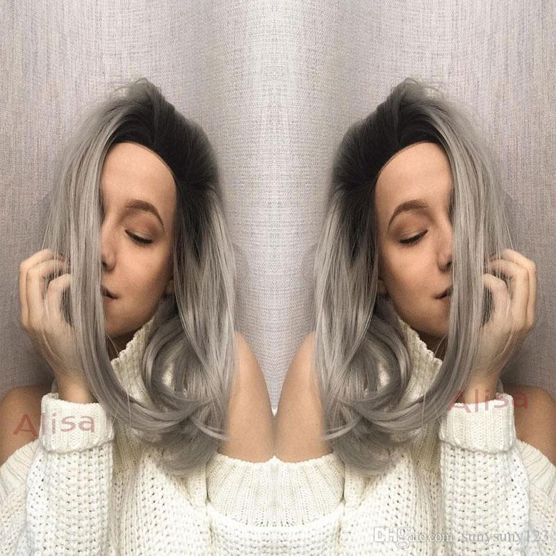 Short Lace front wig ombre wigs bob synthetic Silver gray hair glueless synthetic lace front wig Black/grey for women