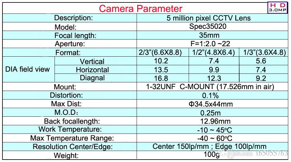 35mm low distortion 5 mega pixels C mount cctv industry lens