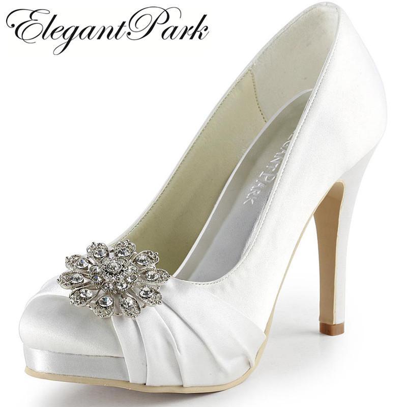 Acheter Femmes Chaussures De Mariage Blanc Ivoire Argent Bout Rond Strass  Haut Talon Plate Forme Satin Mariée Demoiselles D honneur Parti Pompes  Ep2015 De ... e8a24ce20709