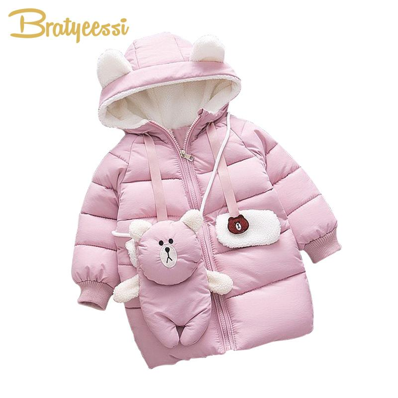 48b21d72a New Warm Baby Girl Winter Clothes Hooded Cartoon Baby Girl Coat Bear ...