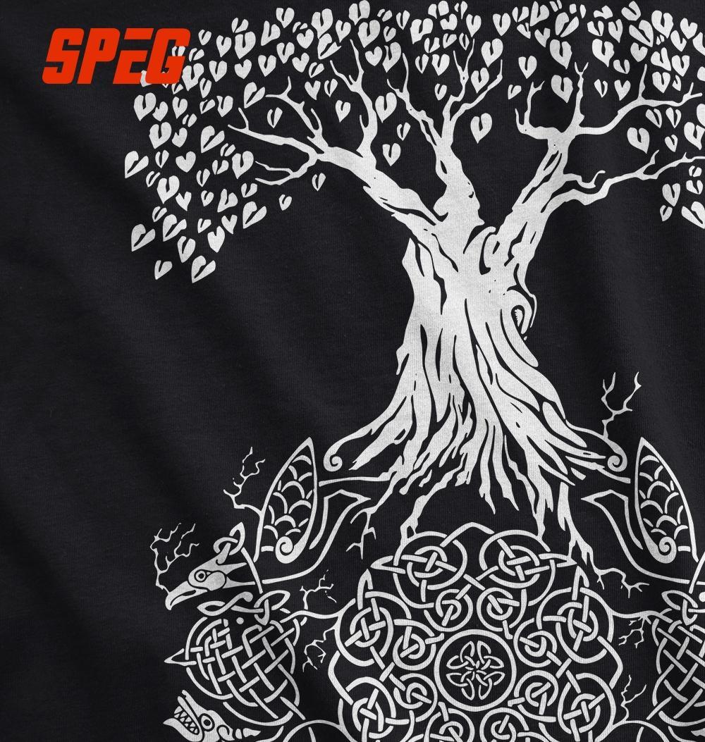 Camiseta tamanho grande árvore da vida Vikings Valhalla filho de Odin adolescente Slim Fit manga curta T-Shirt 2017 dos homens Tees de manga curta