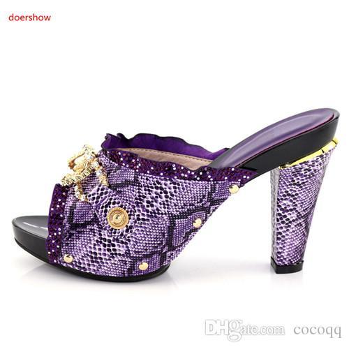 Latest Italian Design Women Wedding Shoe Decorated with Rhinestone Nigerian Party Rhinestones Pumps African Sandals Elegant Shoe KU1-25