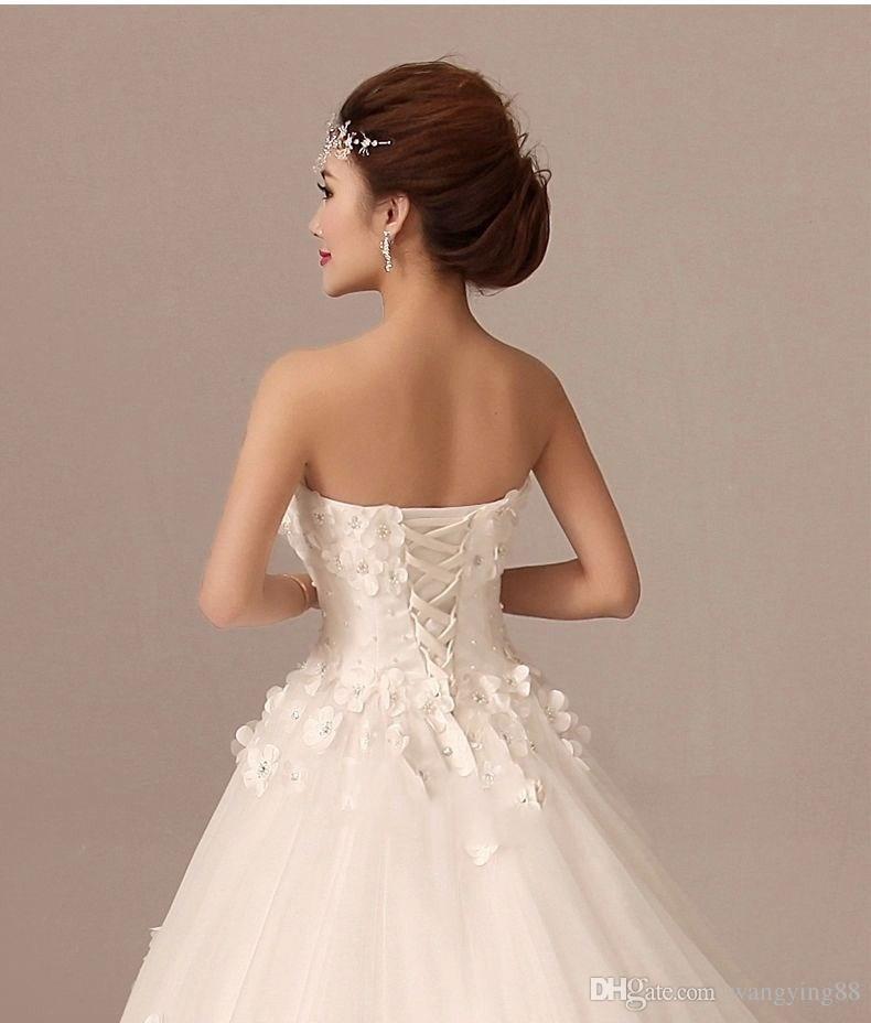 Vestido de noiva 2018 Zarif Beyaz Gelinlik Muhteşem Kolsuz Straplez A-line Çiçek Perals Gelin Bress Custom Made