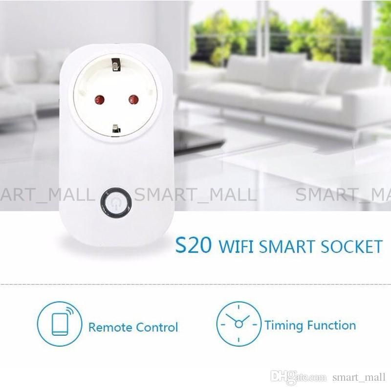 Sonoff S20 واي فاي لاسلكي للتحكم عن بعد مأخذ الطاقة المنزلية الذكية الولايات المتحدة المملكة المتحدة CN القياسية عبر التطبيق الهاتف الذكية الموقت الرئيسية التوصيل