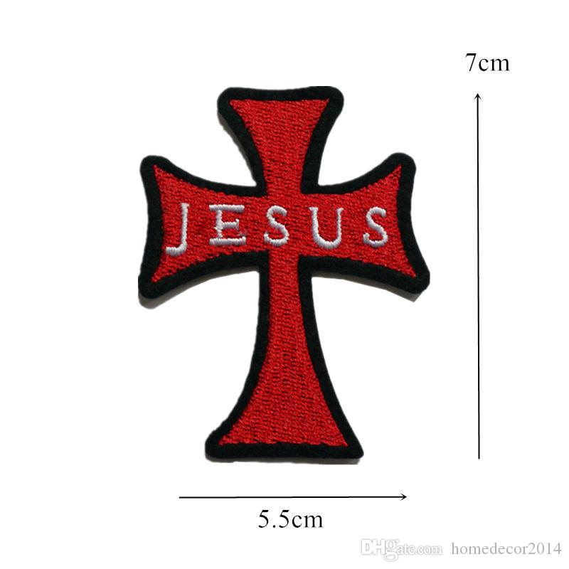 Black Cross Embroidered Iron Sew On Patch T Shirt Bag Motorbike Jacket Badge