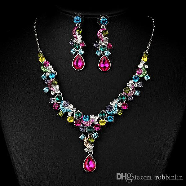 8db1c116e8 2019 Bridal Austrian Crystal Necklace And Earrings Jewelry Set Gifts Fit  With Wedding Dress From Robbinlin, $9.85 | DHgate.Com