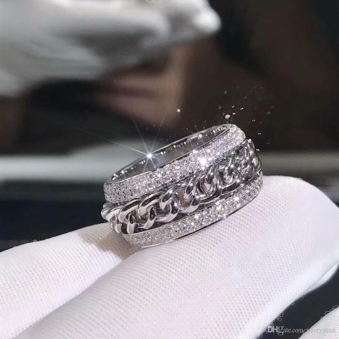 Victoria Wieck Vecalon Köpüklü Lüks Takı 925 Ayar Gümüş Açacağı Tiny Beyaz Safir CZ Elmas Kadınlar Düğün Zinciri Dönebilen Yüzük