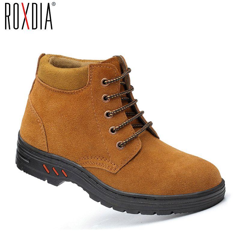 ROXDIA flock cuir embout d'orteil en acier travail sécurité hommes bottes imperméable à l'eau en plein air bottillon chaussures chaussures homme plus