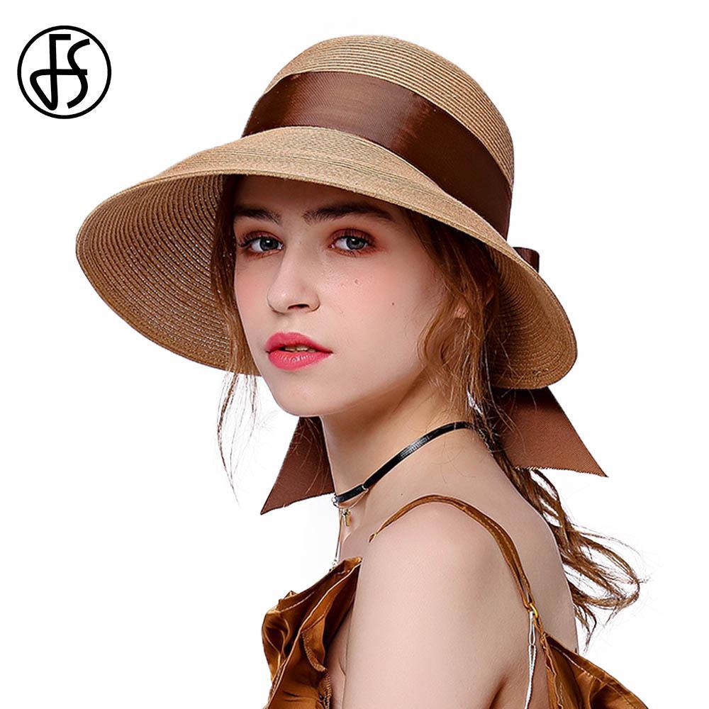 Compre Sombrero De Paja De Verano FS Para Mujer De Ala Ancha Visera De Playa  Sombreros De Silicona Rosa Negro Marrón Sombreros Plegables Con Bowknot De  Moda ... f068ed422b2