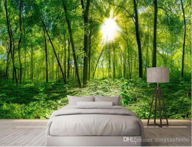Custom 3D Photo Wallpaper 3D Stereoscopic Space Green Forest Trees Nature Landscape Large Mural Wallpaper For Living Room Modern