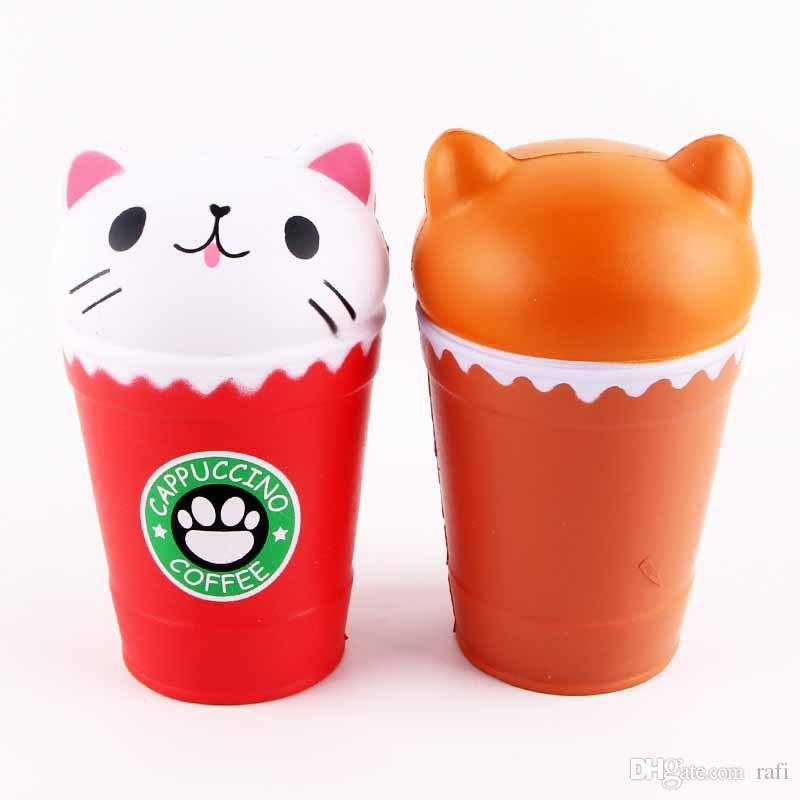 Grande Preço Barato Brinquedos Gato Squishy Brinquedos Copo De Café Squishies Animal Bonito Lento Rising Vent Crianças Brinquedo Presentes Novo 14 cm Jumbo