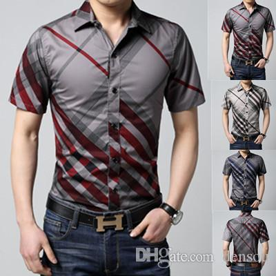 Casual Overhemd Slim Fit.2019 Wholesale 2016 Men Short Sleeve Slim Fit Shirt Overhemd Casual