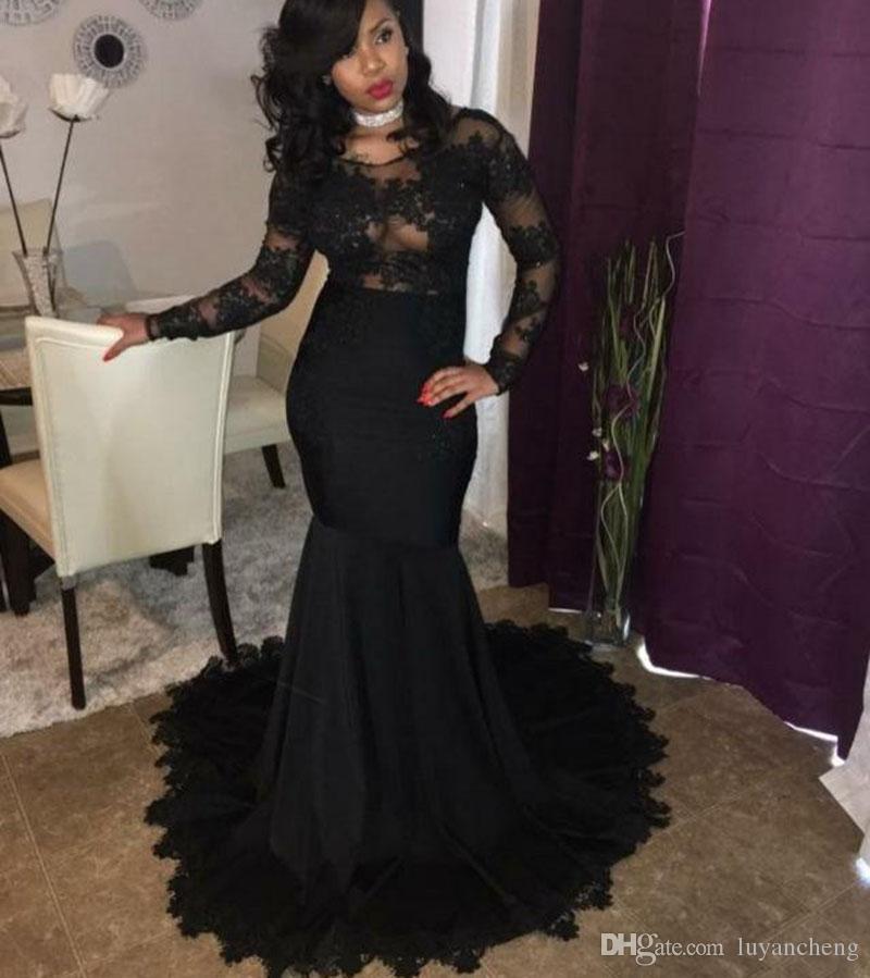 Seksi Illusion Mermaid Gelinlik Modelleri 2019 Siyah Dantel Aplikler Boncuklu Zarif uzun kollu Parti Örgün Elbiseler Abiye giyim Törenlerinde Custom Made