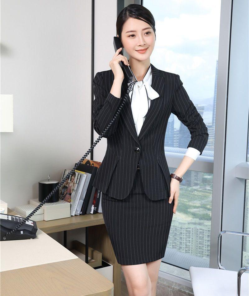 583c025e76016 Compre Moda Casual Blazer Mujeres Falda Trajes Ropa De Trabajo Conjuntos De  Señoras Trajes De Negocios Oficina Uniforme Diseños Estilos A  74.52 Del  Jingju ...
